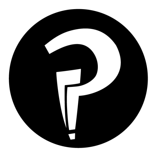 Black interrobang logo (question mark and an exclamation mark in one!)
