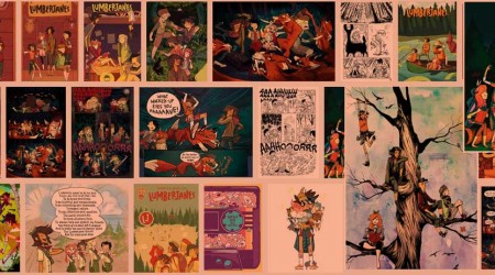 A variety of images and panels by Lumberjanes
