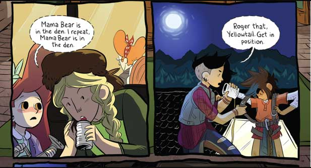 """A Lumberjanes panel: """"Roger that Yellowtail, get in position."""""""