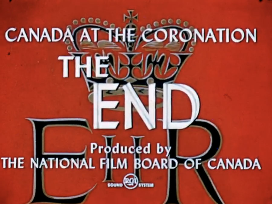 Canada at the Coronation: the end (with a giant Christian crown in the background)