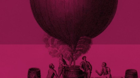 old illustration of men standing around filling a balloon with hot air