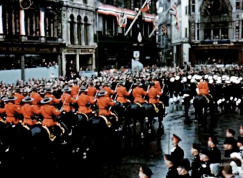 The RCMP ride at Queen's coronation 1953