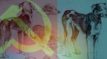 A drawing of hounds standing around with the hammer and sickle overlaid (sports socialism obviously)