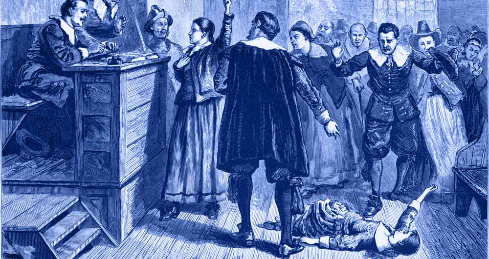 A woman is tried for being a witch in a Salem court