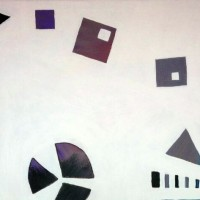 A oainting of geometric shapes that are coloured grey and purple, with white between the shapes
