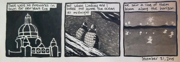 """Dean's comic: """"but when Lindsay and I looked out across the ocean at midnight..."""""""