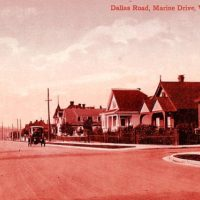 A vintage postcard image of Dallas Road Victoria on a summer's afternoon
