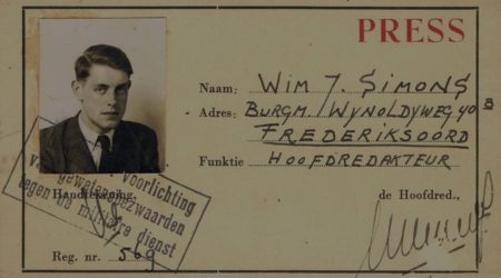 Famous press release: Nederlands: Perskaart Wim Simons, De Dom.1948