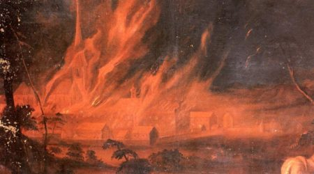 An 18th Century painting of the great fire of Salem, by Salemer Klosterbrand.