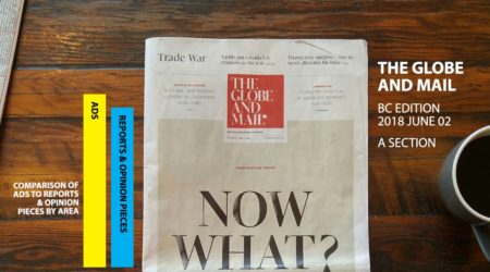 There are more ads than articles in the June 2nd BC Edition of the A Section of the Globe and Mail.