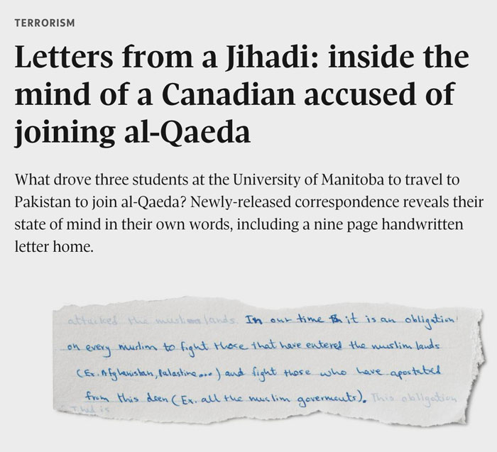 Letters from a Jihadi: inside the mind of a Canadian accused of joining al-Qaeda, The Globe and Mail