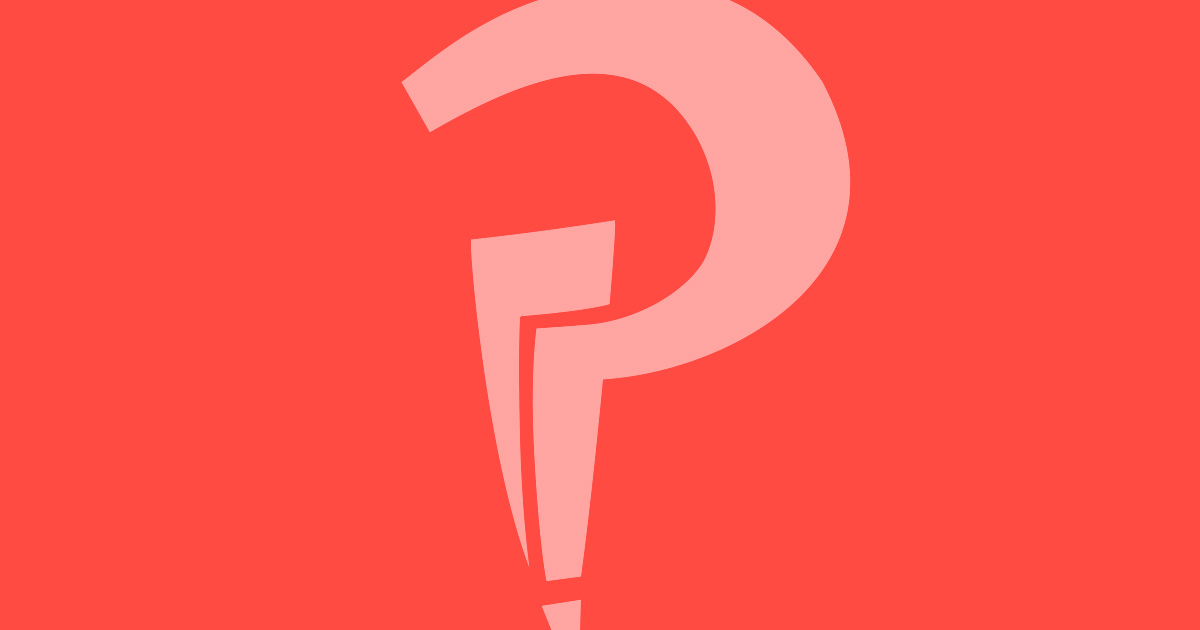 An interrobang on a plain tomato background.