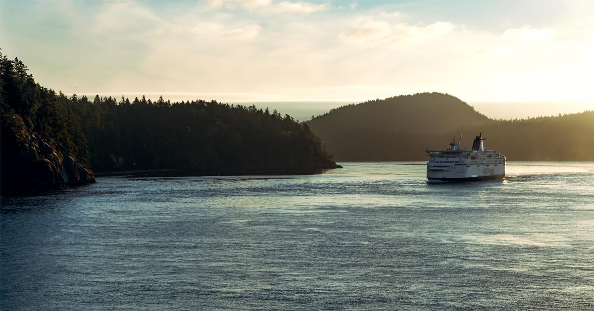 A BC Ferry winds it's way between Victoria and Vancouver on the Salish Sea.