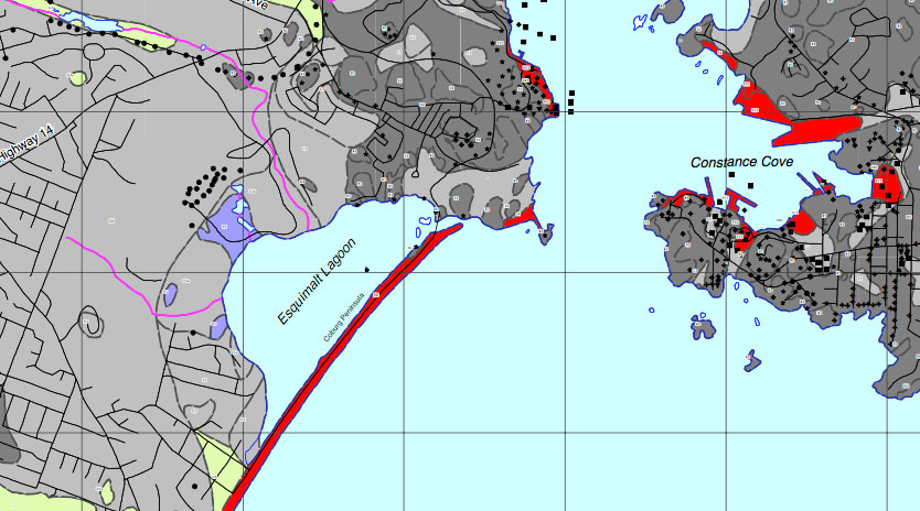 Relative risks of liquefaction from an earthquake around the Esquimalt lagoon.