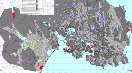 A part of a map of relative risks of soil liquefaction due to earthquake.