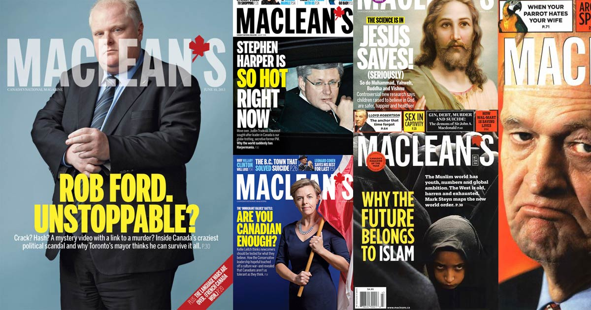 Maclean's cover mash up of Conservative figures; Maclean's is right wing.