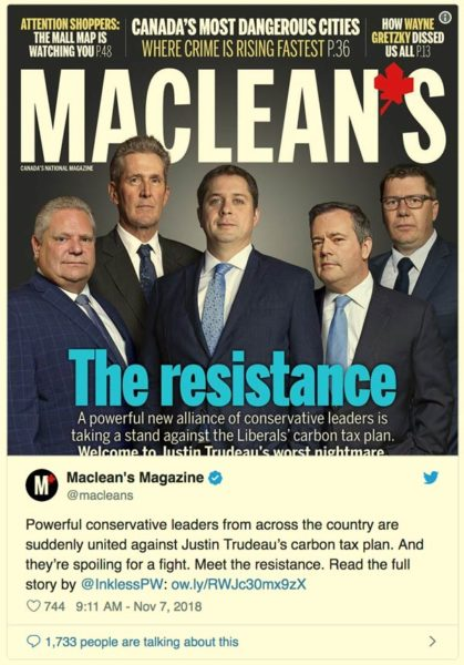 A screenshot of the cover of Maclean's and a tweet by Maclean's magazine.