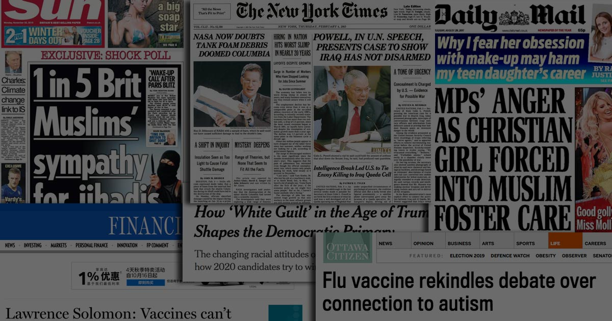 A montage of false and misleading newspaper headlines.